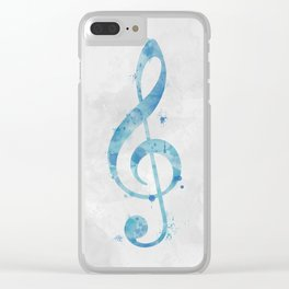 Blue Watercolor Treble Clef Clear iPhone Case