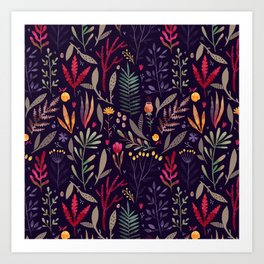 Botanical pattern Art Print