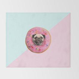 Pug Strawberry Donut Throw Blanket