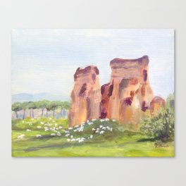 Rome, Italy - The Aqueduct and the Sheep Canvas Print