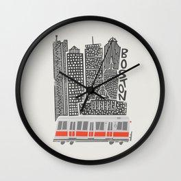 Boston City Illustration Wall Clock