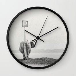 highland visitor Wall Clock