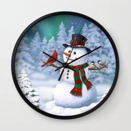 Cute Happy Christmas Snowman with Birds Wall Clock