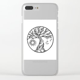 black and white tree of life with hanging sun, moon and stars I Clear iPhone Case