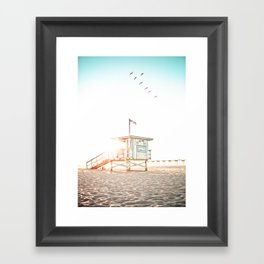 Pelicans Over the 10th Street Lifeguard Tower Framed Art Print