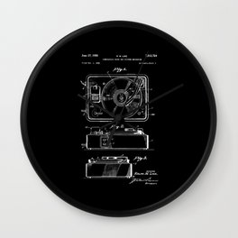 Turntable Patent - White on Black Wall Clock