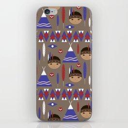 Seamless kids cute American indian native retro background pattern iPhone Skin