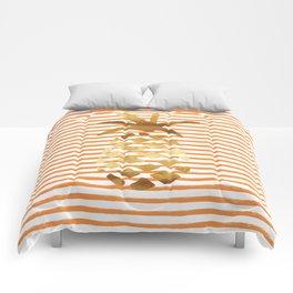 Pineapple & Stripes - Orange/White/Gold Comforters