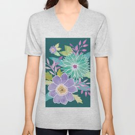 Watercolo Flowers on Teal Unisex V-Neck