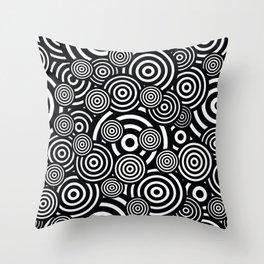 BLACK AND WHITE BULLSEYE ABSTRACT Throw Pillow