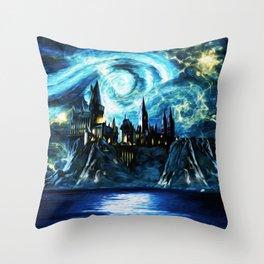 Starry Night Hogwarts Throw Pillow