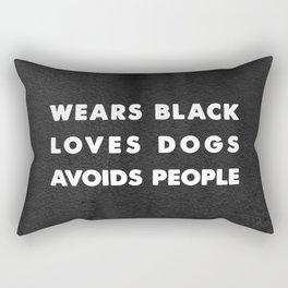 Wears black loves dogs avoids people Rectangular Pillow