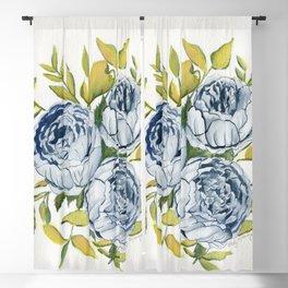 Blue Flowers Watercolor Blackout Curtain