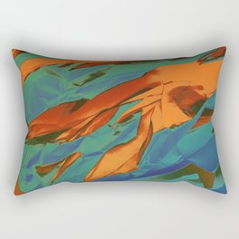 Green, Orange and Blue Abstract Rectangular Pillow
