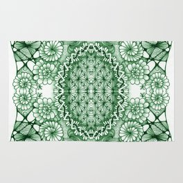 Jade Zentangle Tile Doodle Design Rug