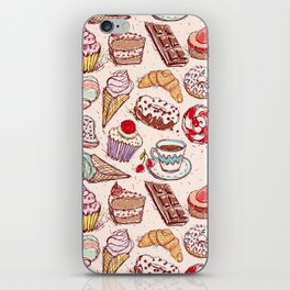 Hand drawn confectionery croissant Cupcake candy ice cream cake donut and coffee iPhone Skin