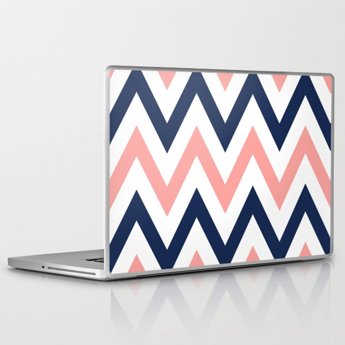 Coral & Navy Chevron Laptop & iPad Skin