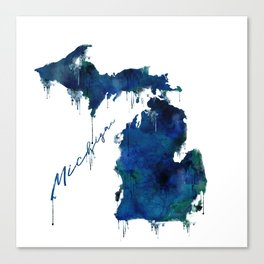Michigan - wet paint Canvas Print