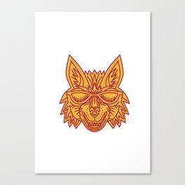 Coyote Head Sunglasses Smiling Mono Line Canvas Print