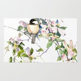 Chickadee and Dogwood Flowers Rug