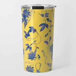 Elegant Blue Passion Flower on Mustard Yellow Travel Mug