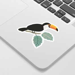 Toucan birds and palm leaves in the jungle Sticker