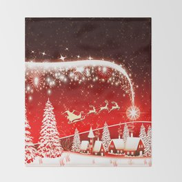Santa Beautiful Christmas Throw Blanket