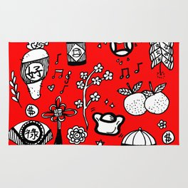 2018 Chinese New Year Doodles Rug