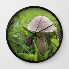 Mushroom in the Morning Dew by Althéa Photo Wall Clock