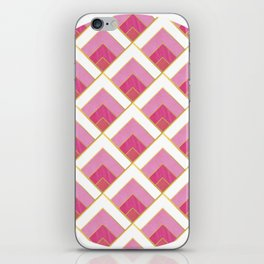 Pink and Gold Diamond Art Deco Pattern iPhone Skin