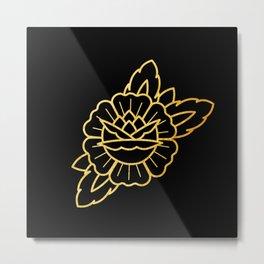Gold Traditional Rose Metal Print