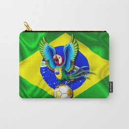 Brazil Macaw Parrot with Soccer Ball Carry-All Pouch
