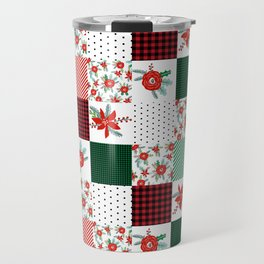 Plaid quilt pattern outdoors nature forest christmas holidays gifts Travel Mug