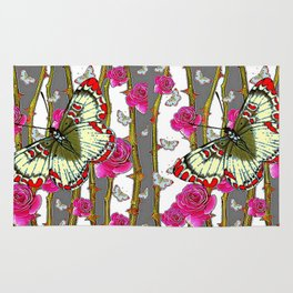 RED-YELLOW  ORIENTAL STYLE BUTTERFLIES & PINK ROSES GREY PATTERN DESIGN FROM SOCIETY6   BY SHARLESAR Rug