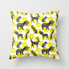 half animals pattern Throw Pillow