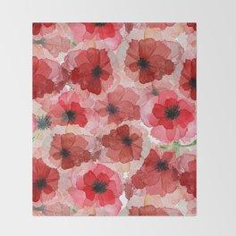 Pressed Poppy Blossom Pattern Throw Blanket