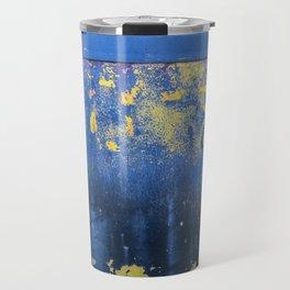 Blue and Yellow Rust Abstact Travel Mug