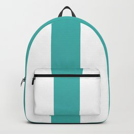 Wide Vertical Stripes - White and Verdigris Backpack