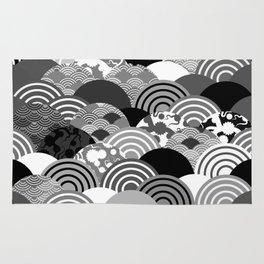 Nature background with japanese sakura flower, Cherry, wave circle Black gray white colors Rug