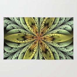 Golden flower with mint swirls Rug
