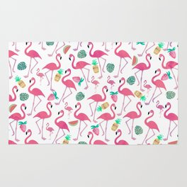 Tropical pink watercolor flamingo sweet summer fruit pattern Rug