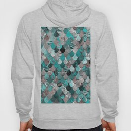 Mermaid, Sea Reflections, Teal Grey Hoody