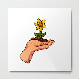 cartoon flower growing in palm of hand Metal Print