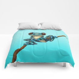 Cute Blue Tree Frog on a Branch Comforters