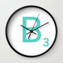 Custom Blue Scrabble Letter B Wall Clock