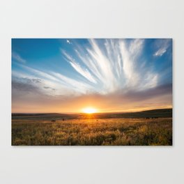 Grand Exit - Golden Sunset on the Oklahoma Prairie Canvas Print