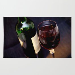 Red  Wine and Wine Glass Photograph Rug