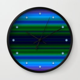 Bright Lined Light Blue Green Colors Wall Clock