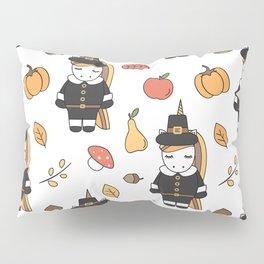 cartoon thanksgiving pattern with pilgrim unicorns, pumpkins, apples, pears, leaves and acorns Pillow Sham