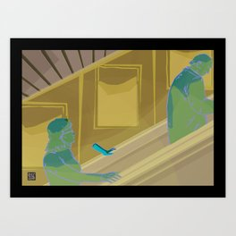 Escalator ride Art Print